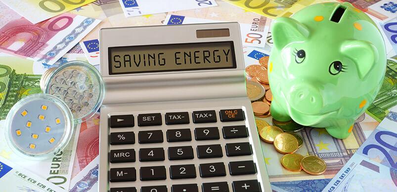 Calculadora con palabras que ahorran energía por Piggy Bank