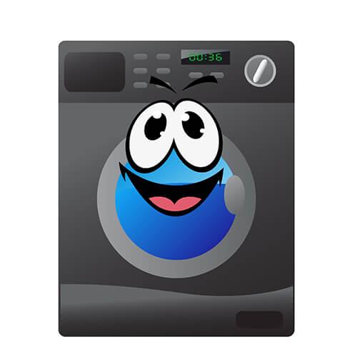 Secadora de dibujos animados de color gris con cara sonriente