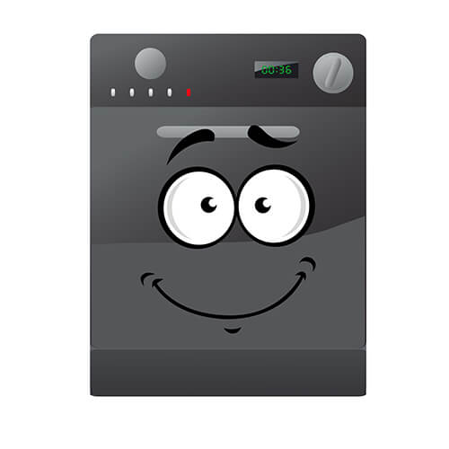 Cartoon Gray Dishwasher With Smiley Face