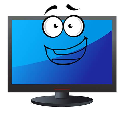 Pantalla de televisión de dibujos animados con rostro sonriente