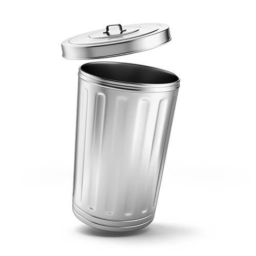 Cubo de basura de metal plateado con tapa abierta