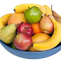 Array Of Fruit In Blue Bowl