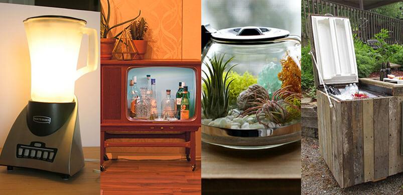 Collage de productos reciclados del artículo