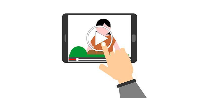 Animación del video de YouTube en el teléfono
